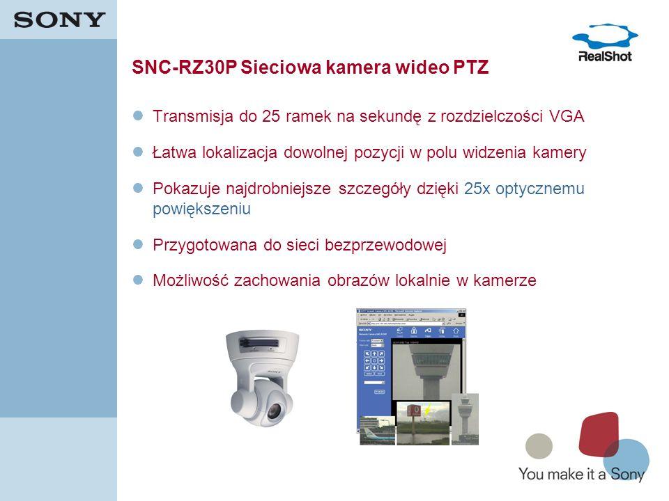 13 SNC-RZ30P Sieciowa kamera wideo PTZ Transmisja do 25 ramek na sekundę z rozdzielczości VGA Łatwa lokalizacja dowolnej pozycji w polu widzenia kamer