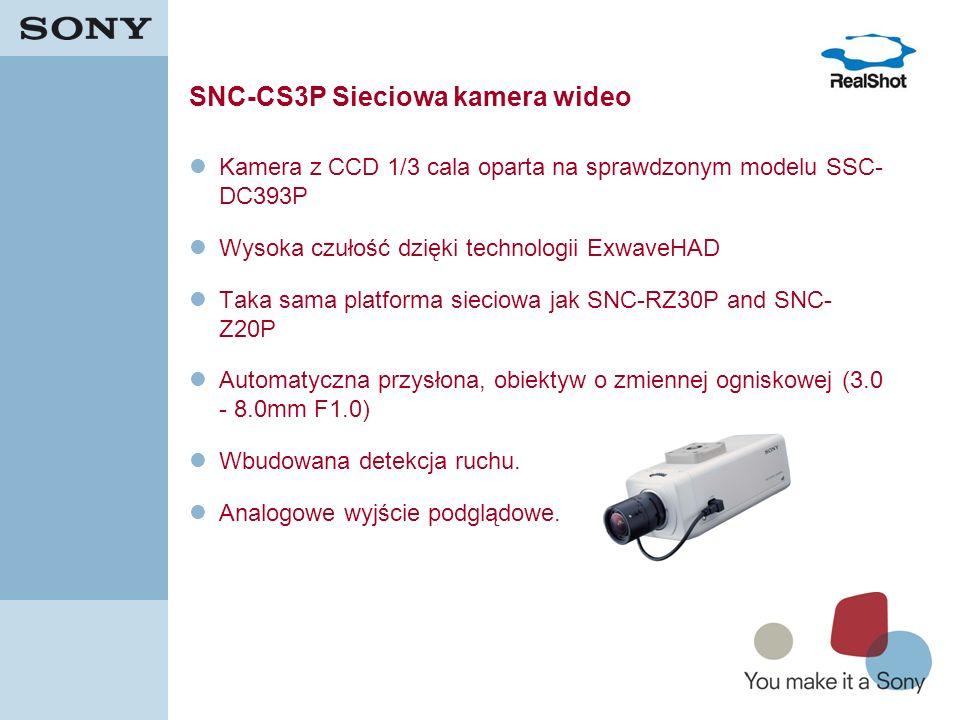 15 SNC-CS3P Sieciowa kamera wideo Kamera z CCD 1/3 cala oparta na sprawdzonym modelu SSC- DC393P Wysoka czułość dzięki technologii ExwaveHAD Taka sama