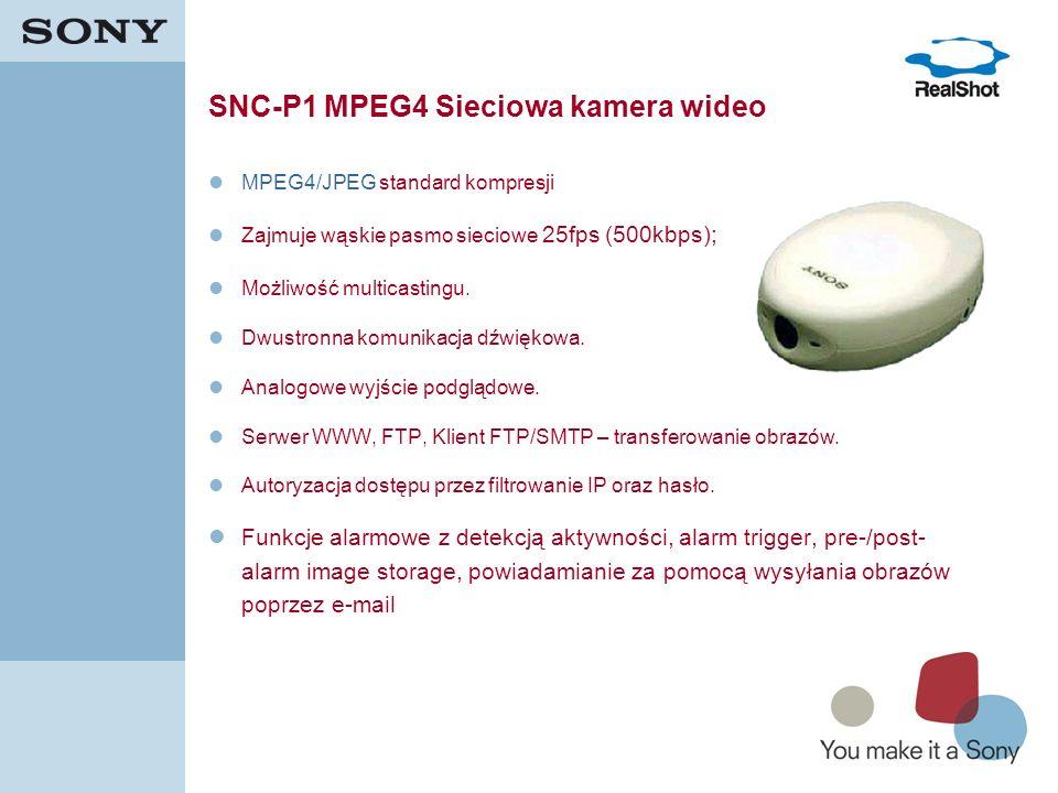 16 SNC-P1 MPEG4 Sieciowa kamera wideo MPEG4/JPEG standard kompresji Zajmuje wąskie pasmo sieciowe 25fps (500kbps); Możliwość multicastingu. Dwustronna