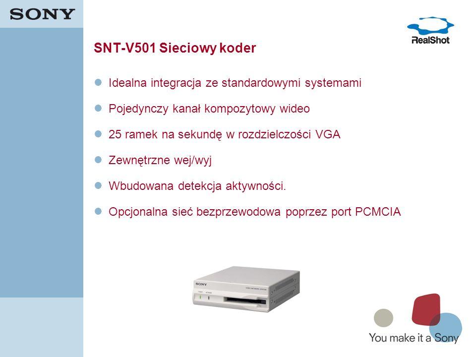17 SNT-V501 Sieciowy koder Idealna integracja ze standardowymi systemami Pojedynczy kanał kompozytowy wideo 25 ramek na sekundę w rozdzielczości VGA Z