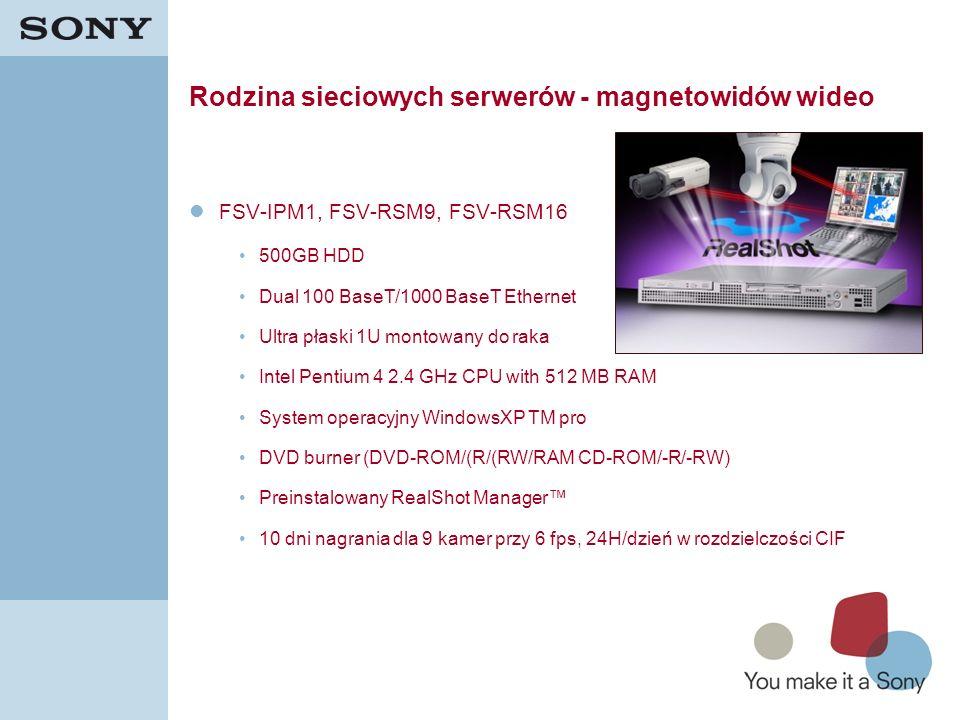 18 Rodzina sieciowych serwerów - magnetowidów wideo FSV-IPM1, FSV-RSM9, FSV-RSM16 500GB HDD Dual 100 BaseT/1000 BaseT Ethernet Ultra płaski 1U montowa