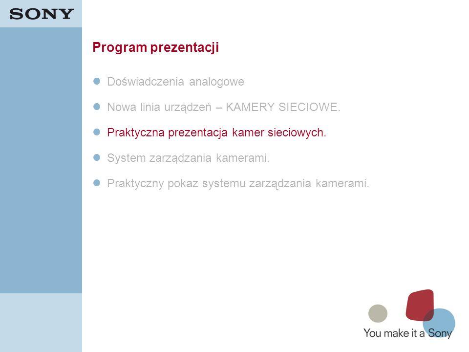 19 Program prezentacji Doświadczenia analogowe Nowa linia urządzeń – KAMERY SIECIOWE. Praktyczna prezentacja kamer sieciowych. System zarządzania kame