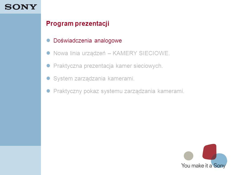 2 Program prezentacji Doświadczenia analogowe Nowa linia urządzeń – KAMERY SIECIOWE. Praktyczna prezentacja kamer sieciowych. System zarządzania kamer