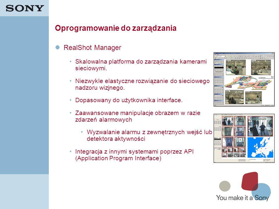 21 Oprogramowanie do zarządzania RealShot Manager Skalowalna platforma do zarządzania kamerami sieciowymi. Niezwykle elastyczne rozwiązanie do sieciow