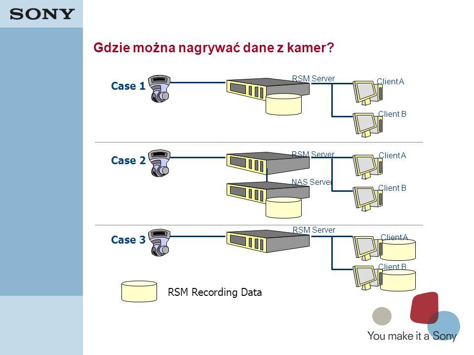 25 Gdzie można nagrywać dane z kamer? RSM Server NAS Server RSM Server Case 3 Case 2 Case 1 RSM Recording Data Client A Client B Client A Client B Cli