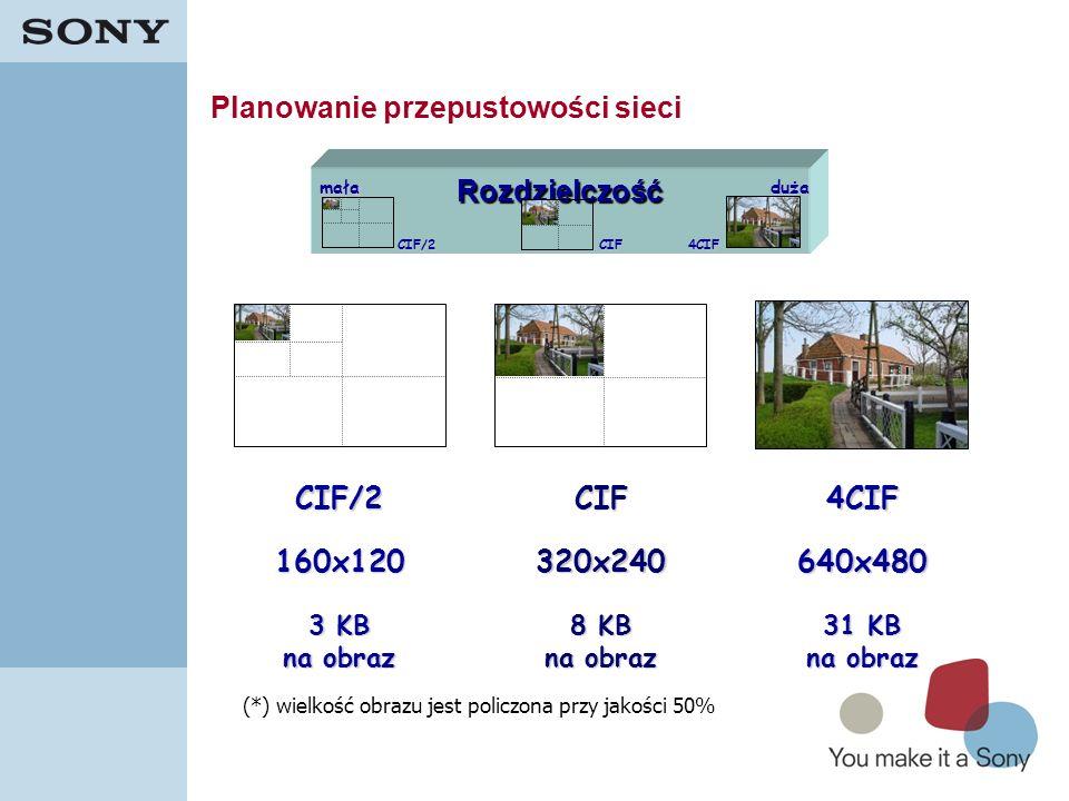 28Rozdzielczość mała duża CIFCIF/24CIF 640x480 320x240 160x120 31 KB na obraz 8 KB na obraz 3 KB na obraz CIF/2CIF4CIF (*) wielkość obrazu jest policz