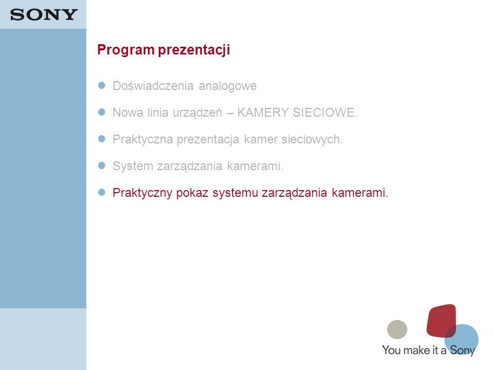 36 Program prezentacji Doświadczenia analogowe Nowa linia urządzeń – KAMERY SIECIOWE. Praktyczna prezentacja kamer sieciowych. System zarządzania kame