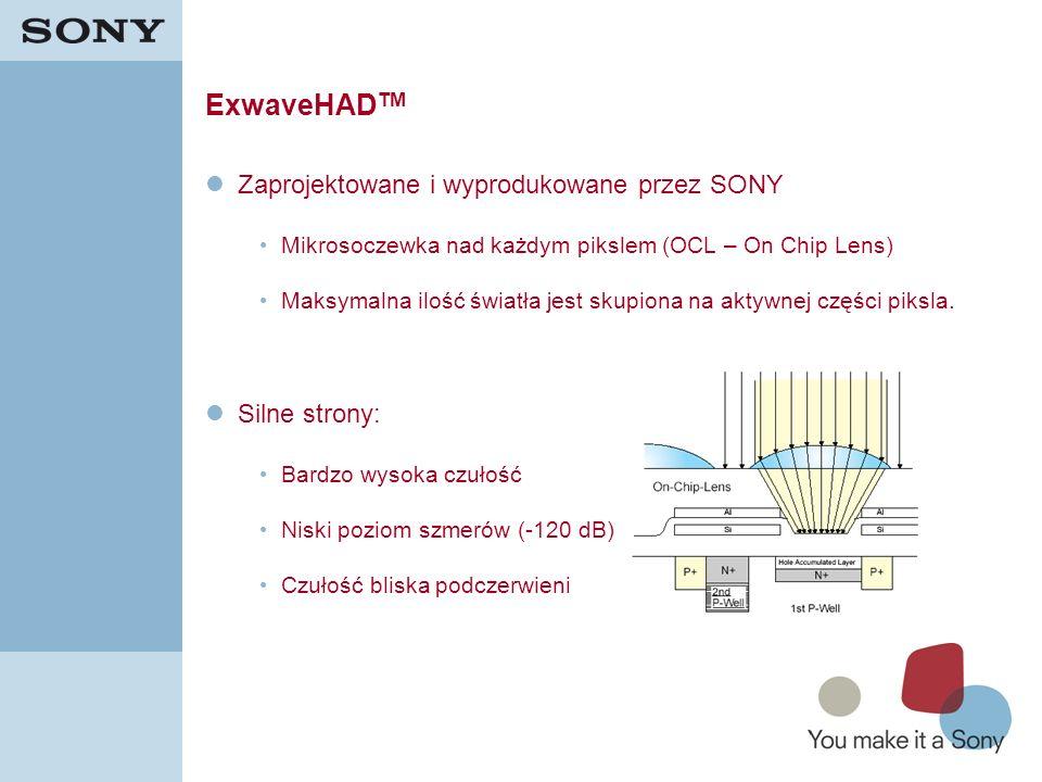 5 ExwaveHAD TM Zaprojektowane i wyprodukowane przez SONY Mikrosoczewka nad każdym pikslem (OCL – On Chip Lens) Maksymalna ilość światła jest skupiona