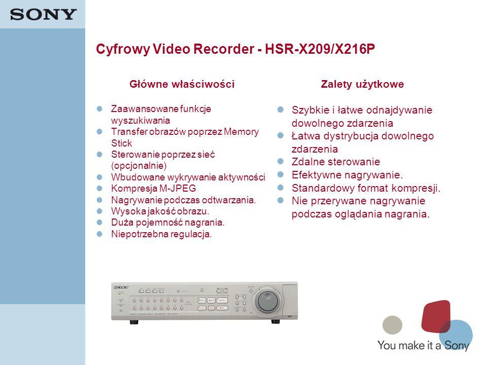 8 Cyfrowy Video Recorder - HSR-X209/X216P Główne właściwości Zaawansowane funkcje wyszukiwania Transfer obrazów poprzez Memory Stick Sterowanie poprze