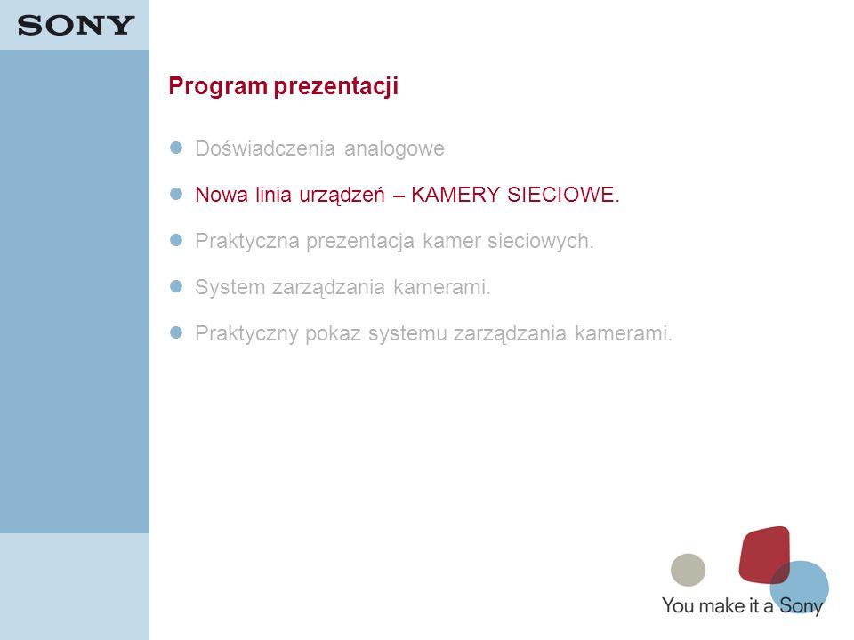 9 Program prezentacji Doświadczenia analogowe Nowa linia urządzeń – KAMERY SIECIOWE. Praktyczna prezentacja kamer sieciowych. System zarządzania kamer