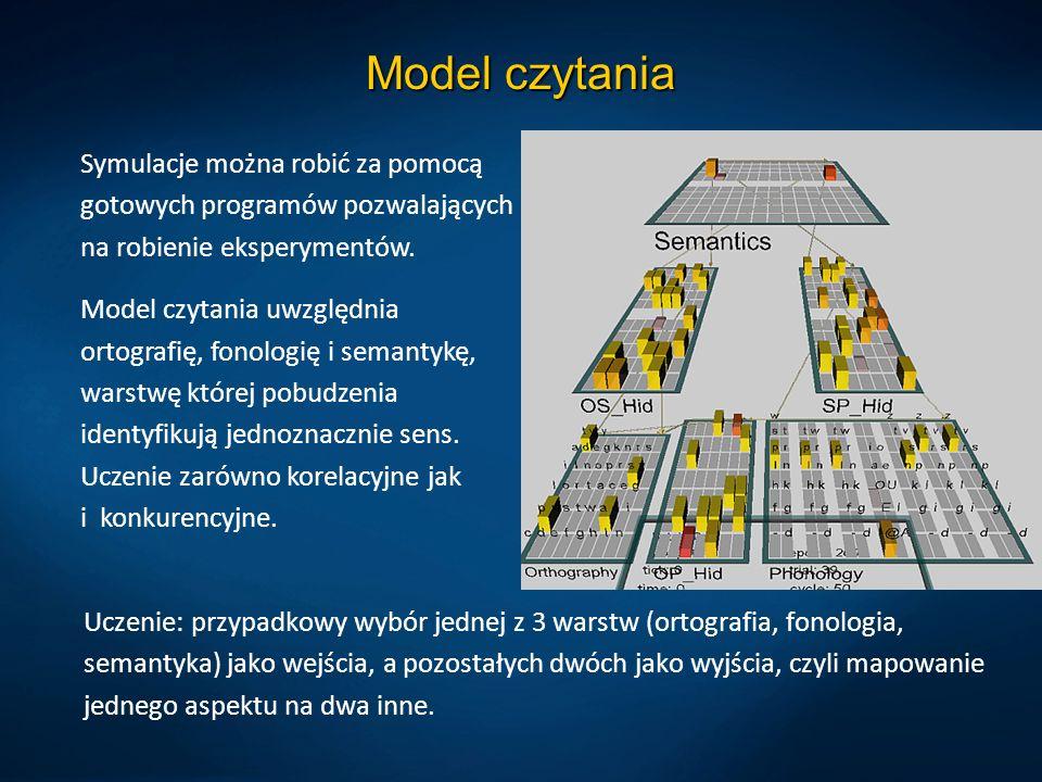 Model czytania Uczenie: przypadkowy wybór jednej z 3 warstw (ortografia, fonologia, semantyka) jako wejścia, a pozostałych dwóch jako wyjścia, czyli m