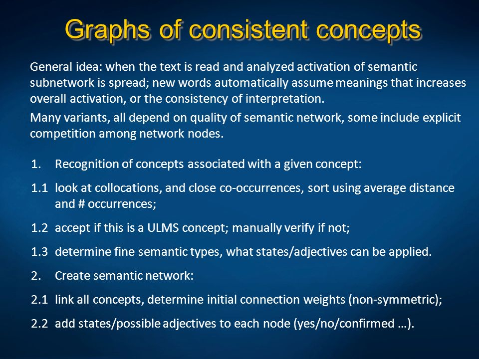 Graphs of consistent concepts General idea: when the text is read and analyzed activation of semantic subnetwork is spread; new words automatically as