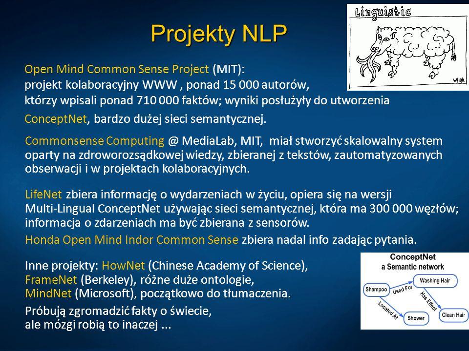 Projekty NLP Open Mind Common Sense Project (MIT): projekt kolaboracyjny WWW, ponad 15 000 autorów, którzy wpisali ponad 710 000 faktów; wyniki posłuż