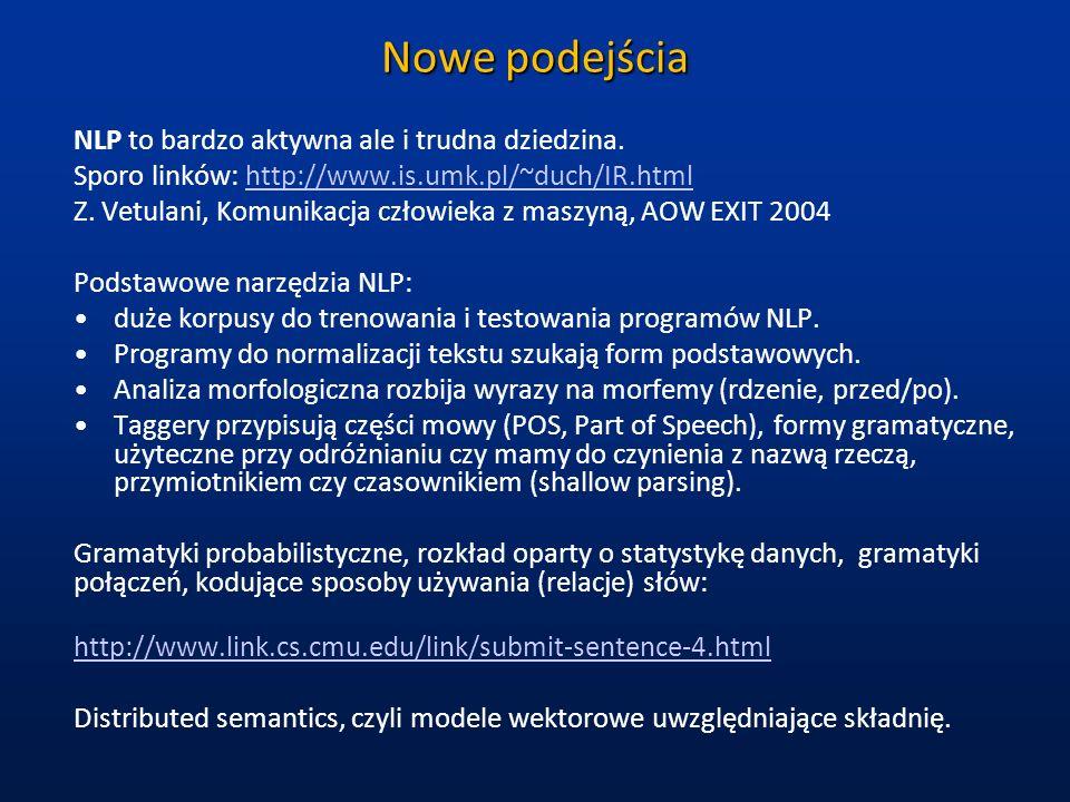 Nowe podejścia NLP to bardzo aktywna ale i trudna dziedzina. Sporo linków: http://www.is.umk.pl/~duch/IR.htmlhttp://www.is.umk.pl/~duch/IR.html Z. Vet