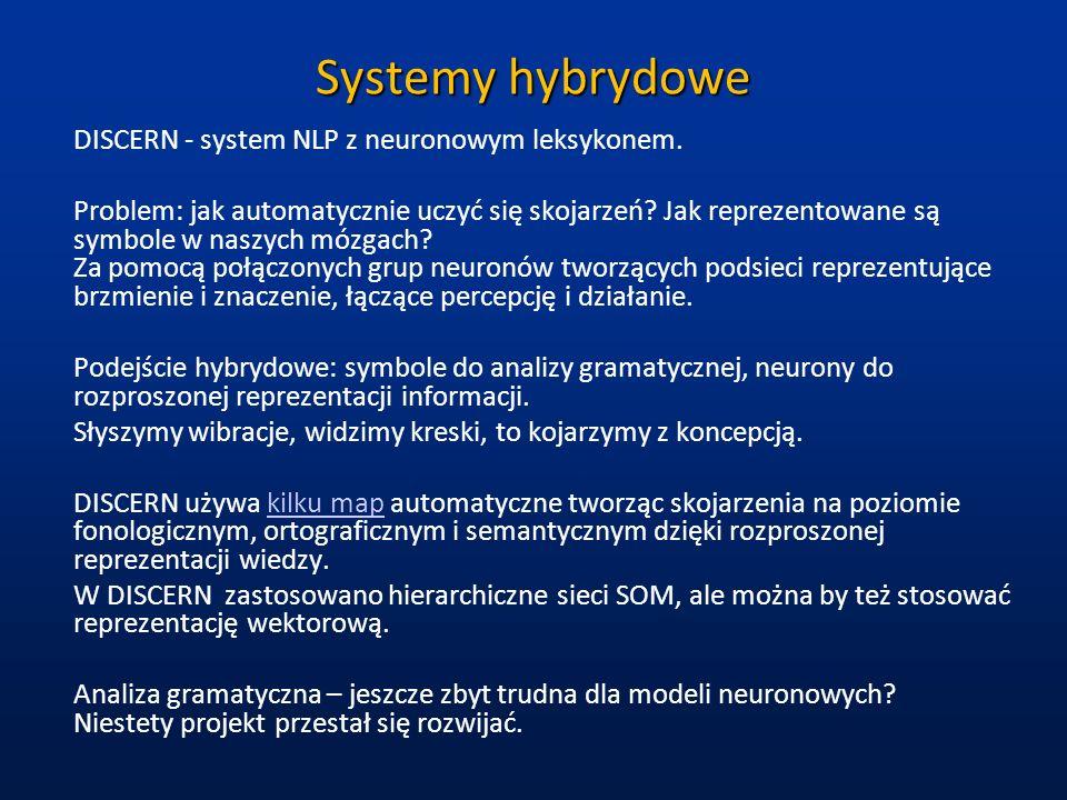 Systemy hybrydowe DISCERN - system NLP z neuronowym leksykonem. Problem: jak automatycznie uczyć się skojarzeń? Jak reprezentowane są symbole w naszyc