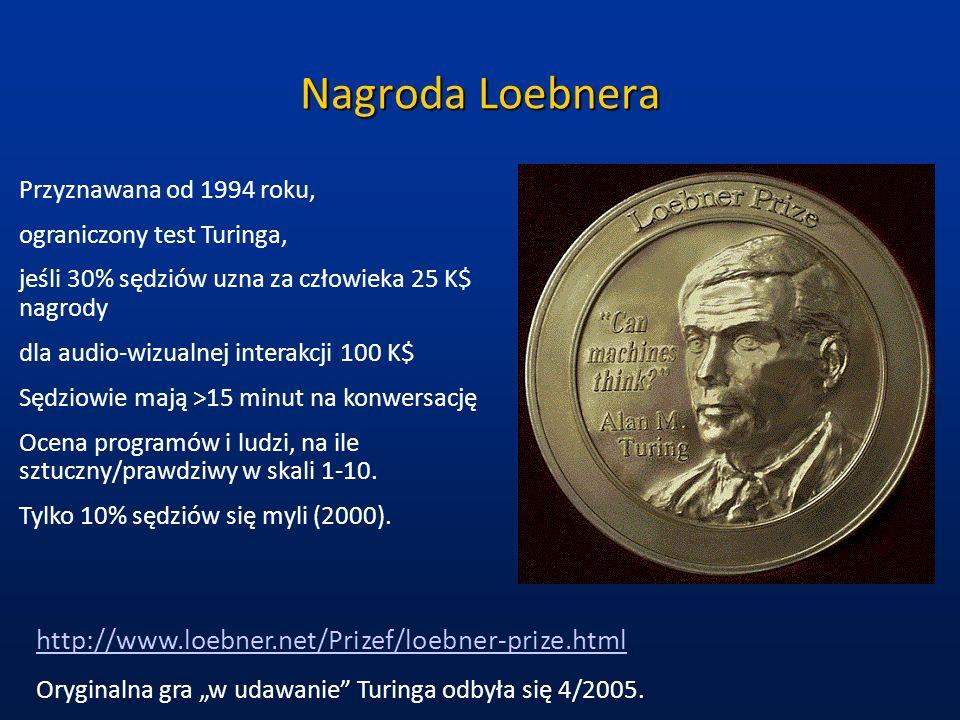 Nagroda Loebnera Przyznawana od 1994 roku, ograniczony test Turinga, jeśli 30% sędziów uzna za człowieka 25 K$ nagrody dla audio-wizualnej interakcji