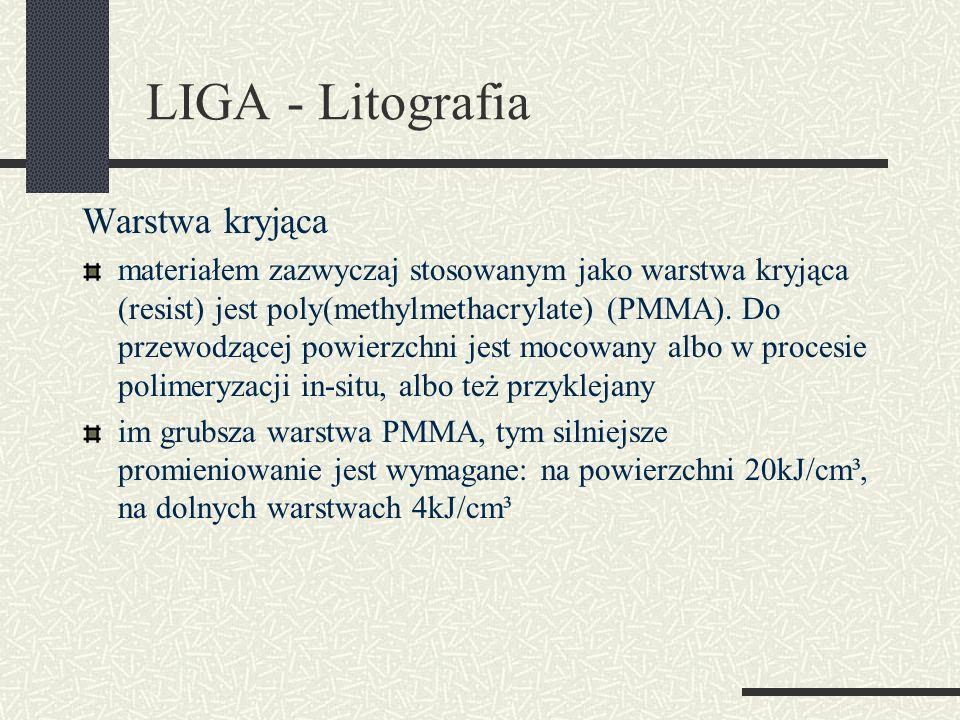 LIGA - Litografia Warstwa kryjąca materiałem zazwyczaj stosowanym jako warstwa kryjąca (resist) jest poly(methylmethacrylate) (PMMA). Do przewodzącej