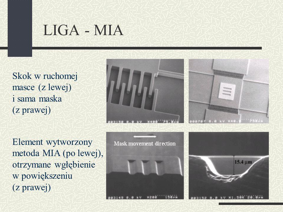 LIGA - MIA Skok w ruchomej masce (z lewej) i sama maska (z prawej) Element wytworzony metoda MIA (po lewej), otrzymane wgłębienie w powiększeniu (z pr