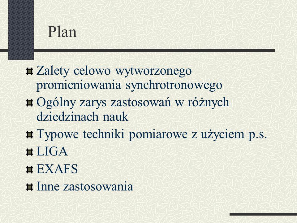 Plan Zalety celowo wytworzonego promieniowania synchrotronowego Ogólny zarys zastosowań w różnych dziedzinach nauk Typowe techniki pomiarowe z użyciem