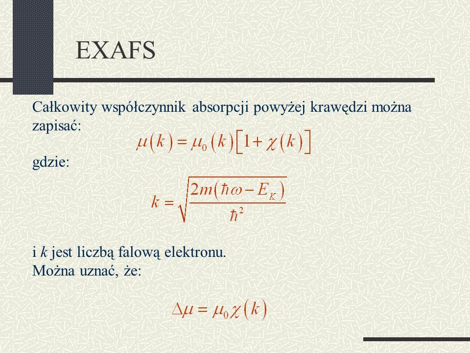 EXAFS Całkowity współczynnik absorpcji powyżej krawędzi można zapisać: gdzie: i k jest liczbą falową elektronu. Można uznać, że: