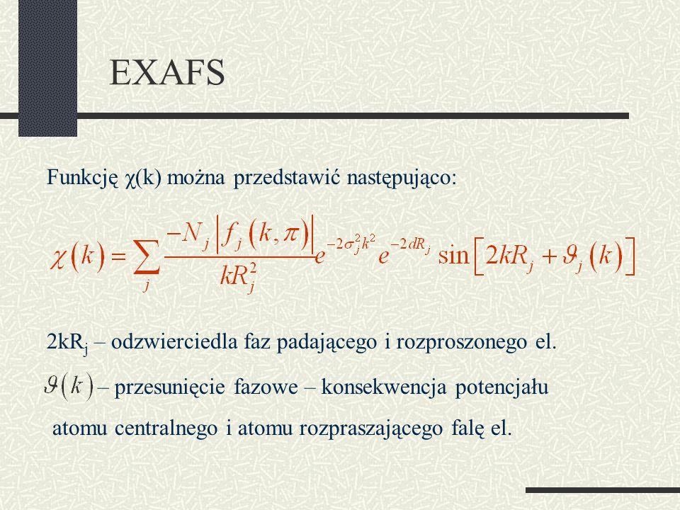 EXAFS Funkcję χ(k) można przedstawić następująco: 2kR j – odzwierciedla faz padającego i rozproszonego el. – przesunięcie fazowe – konsekwencja potenc