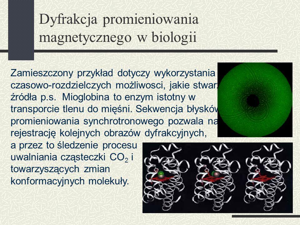 Dyfrakcja promieniowania magnetycznego w biologii Zamieszczony przykład dotyczy wykorzystania czasowo-rozdzielczych możliwosci, jakie stwarzają źródła