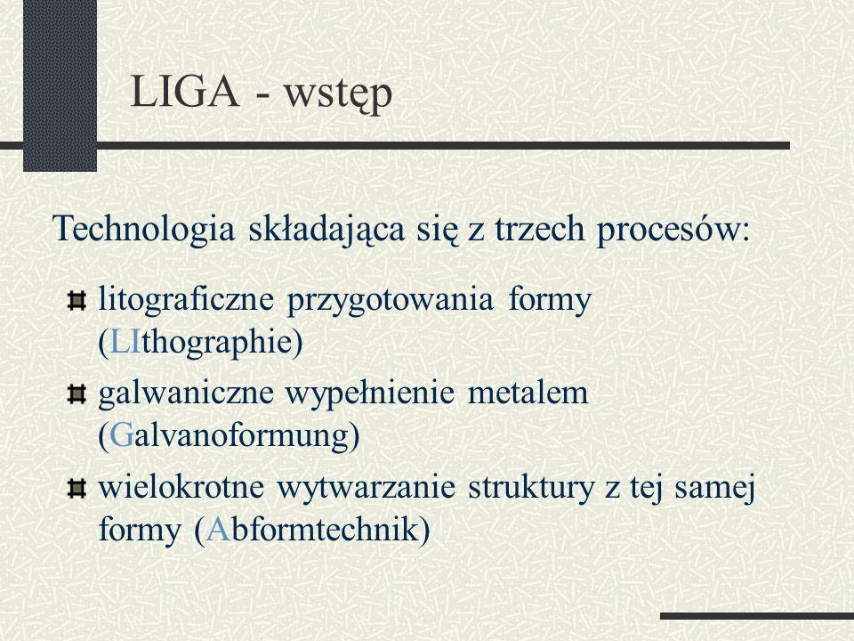 LIGA - wstęp litograficzne przygotowania formy (LIthographie) galwaniczne wypełnienie metalem (Galvanoformung) wielokrotne wytwarzanie struktury z tej