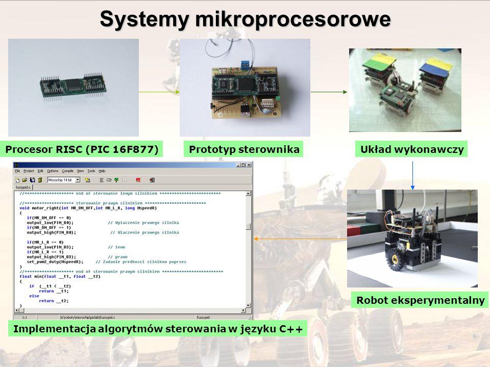 Procesor RISC (PIC 16F877)Prototyp sterownika Robot eksperymentalny Układ wykonawczy Implementacja algorytmów sterowania w języku C++ Systemy mikropro
