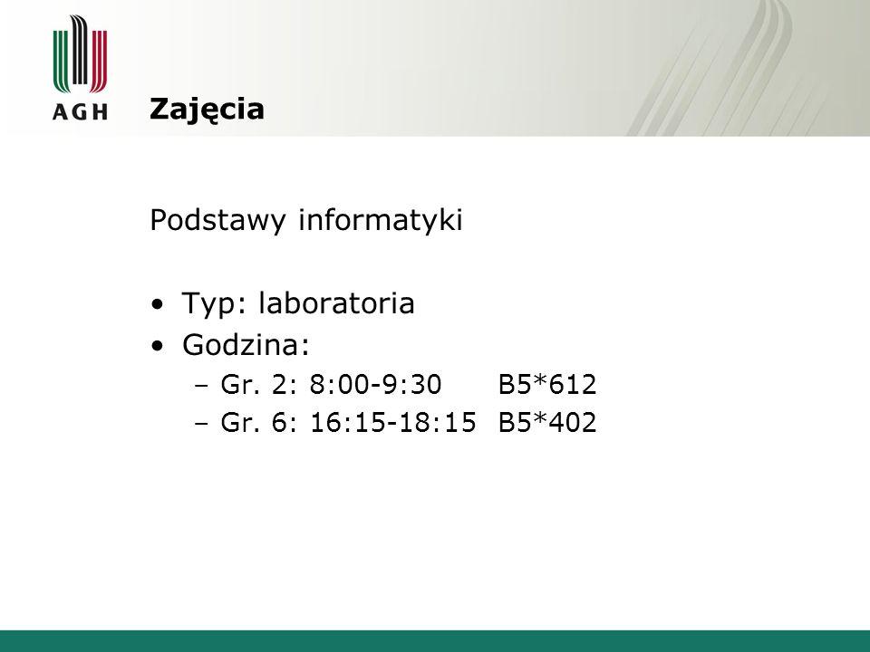 Zajęcia Podstawy informatyki Typ: laboratoria Godzina: –Gr. 2: 8:00-9:30 B5*612 –Gr. 6: 16:15-18:15 B5*402