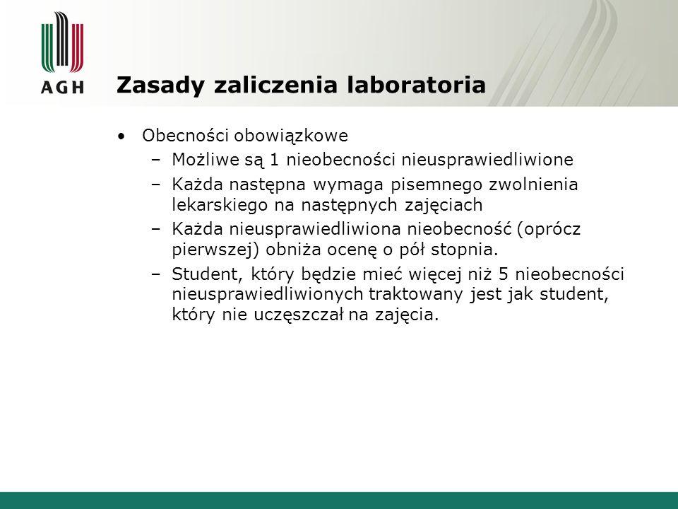 Zasady zaliczenia laboratoria Kolokwia –W czasie semestru odbędą się trzy kolokwia.