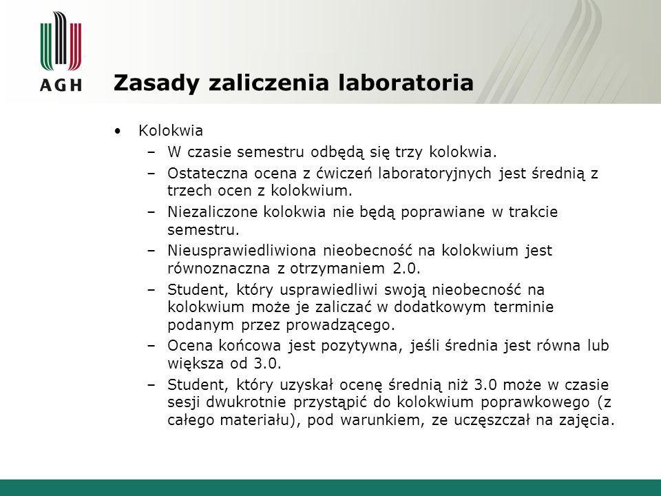 Zasady zaliczenia laboratoria Kolokwia –W czasie semestru odbędą się trzy kolokwia. –Ostateczna ocena z ćwiczeń laboratoryjnych jest średnią z trzech