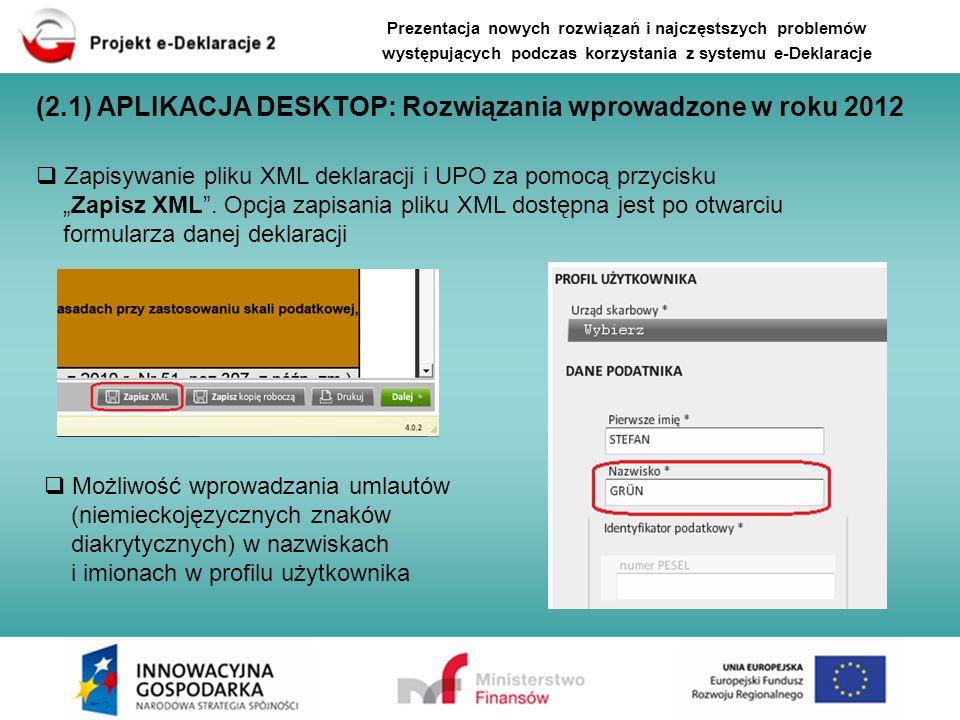 (2.1) APLIKACJA DESKTOP: Rozwiązania wprowadzone w roku 2012 Możliwość wprowadzania umlautów (niemieckojęzycznych znaków diakrytycznych) w nazwiskach