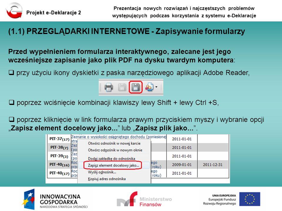 (1.4) FUNKCJONALNOŚCI APLIKACJI WTYCZKA 2.0.1 W aplikacji wtyczka e-Deklaracje od wersji 2.0.0 wprowadzono następujące zmiany: możliwość sprawdzenia statusu wysłanego dokumentu z poziomu Rejestru wysyłek (przedstawiono wcześniej), usunięcie przycisku Wyślij z autoryzacją, usunięcie sekcji danych autoryzujących z formularzy interaktywnych PDF i zastosowanie funkcji autoryzacji danych (opcja Dane autoryzujące) w kreatorze wysyłki deklaracji, Prezentacja nowych rozwiązań i najczęstszych problemów występujących podczas korzystania z systemu e-Deklaracje