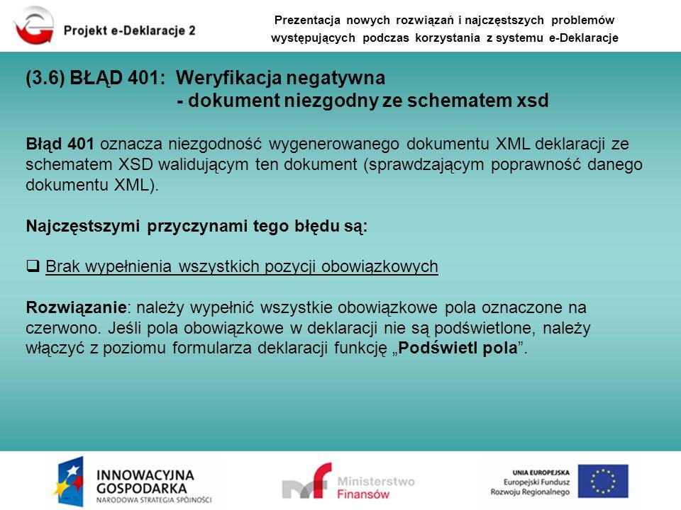 Błąd 401 oznacza niezgodność wygenerowanego dokumentu XML deklaracji ze schematem XSD walidującym ten dokument (sprawdzającym poprawność danego dokume
