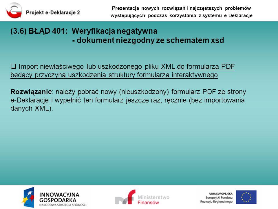 Import niewłaściwego lub uszkodzonego pliku XML do formularza PDF będący przyczyną uszkodzenia struktury formularza interaktywnego Rozwiązanie: należy