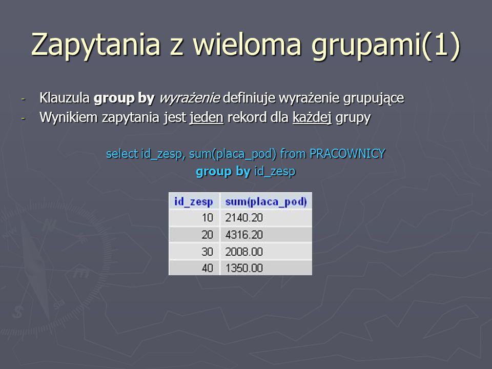 Zapytania z wieloma grupami(1) - Klauzula group by wyrażenie definiuje wyrażenie grupujące - Wynikiem zapytania jest jeden rekord dla każdej grupy select id_zesp, sum(placa_pod) from PRACOWNICY group by id_zesp