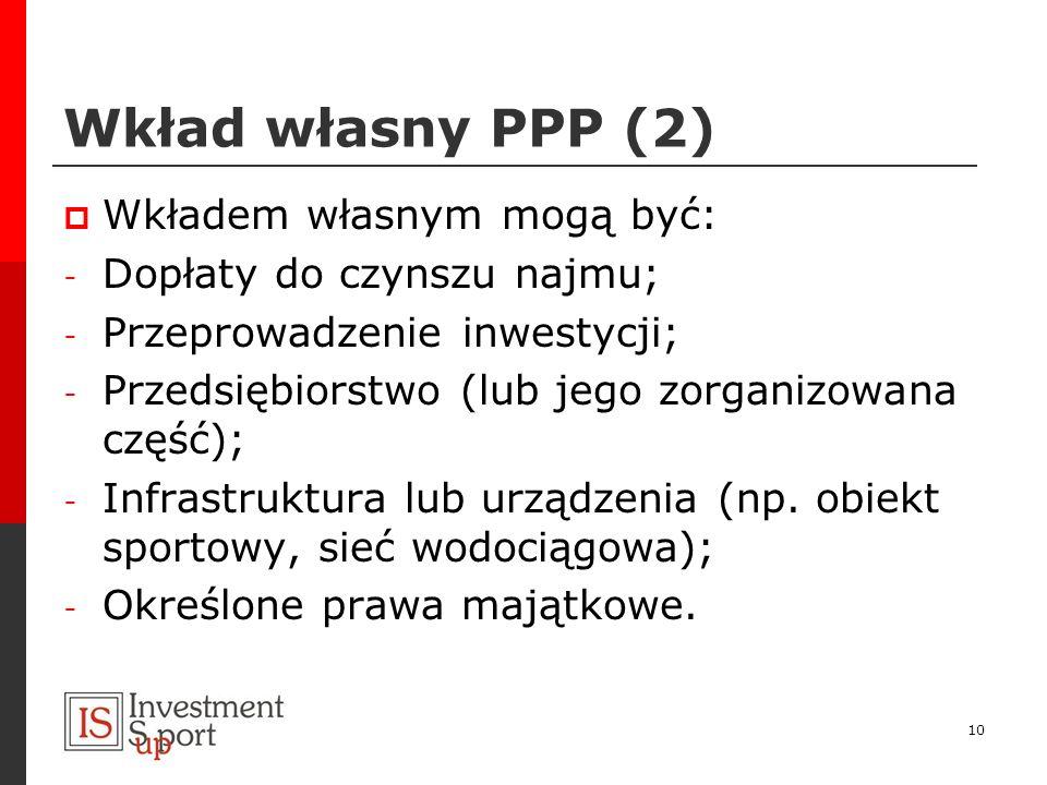 Wkład własny PPP (2) Wkładem własnym mogą być: - Dopłaty do czynszu najmu; - Przeprowadzenie inwestycji; - Przedsiębiorstwo (lub jego zorganizowana cz