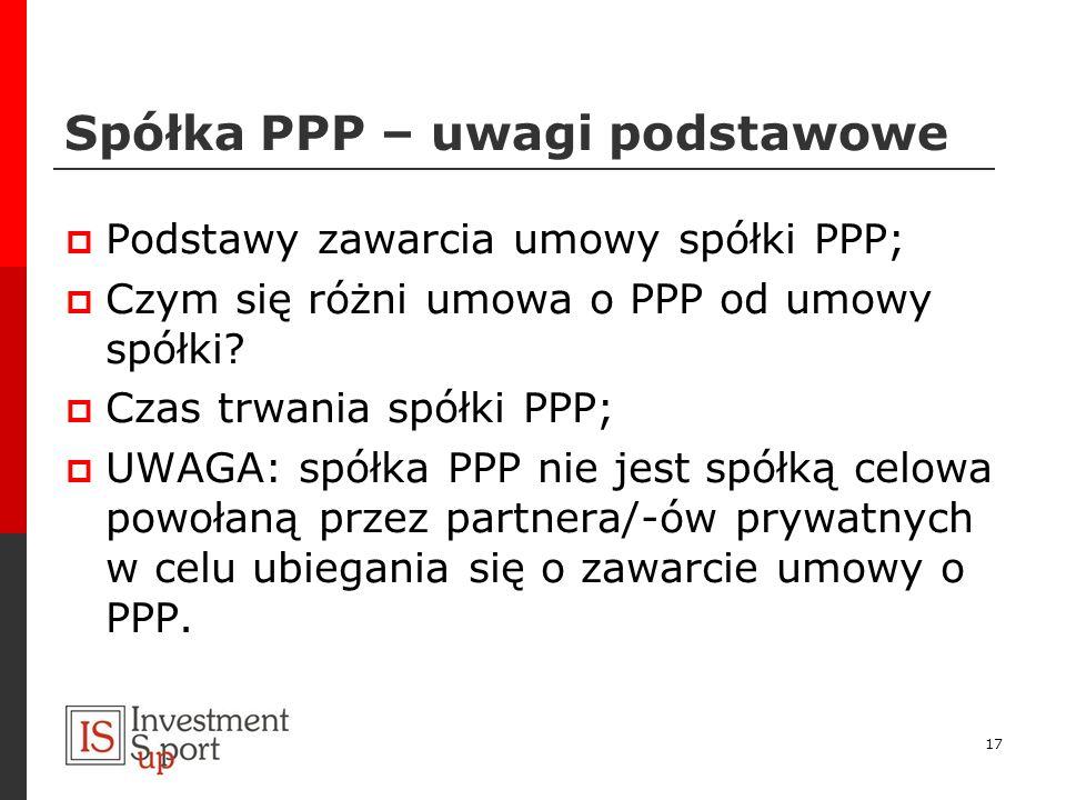 Spółka PPP – uwagi podstawowe Podstawy zawarcia umowy spółki PPP; Czym się różni umowa o PPP od umowy spółki? Czas trwania spółki PPP; UWAGA: spółka P