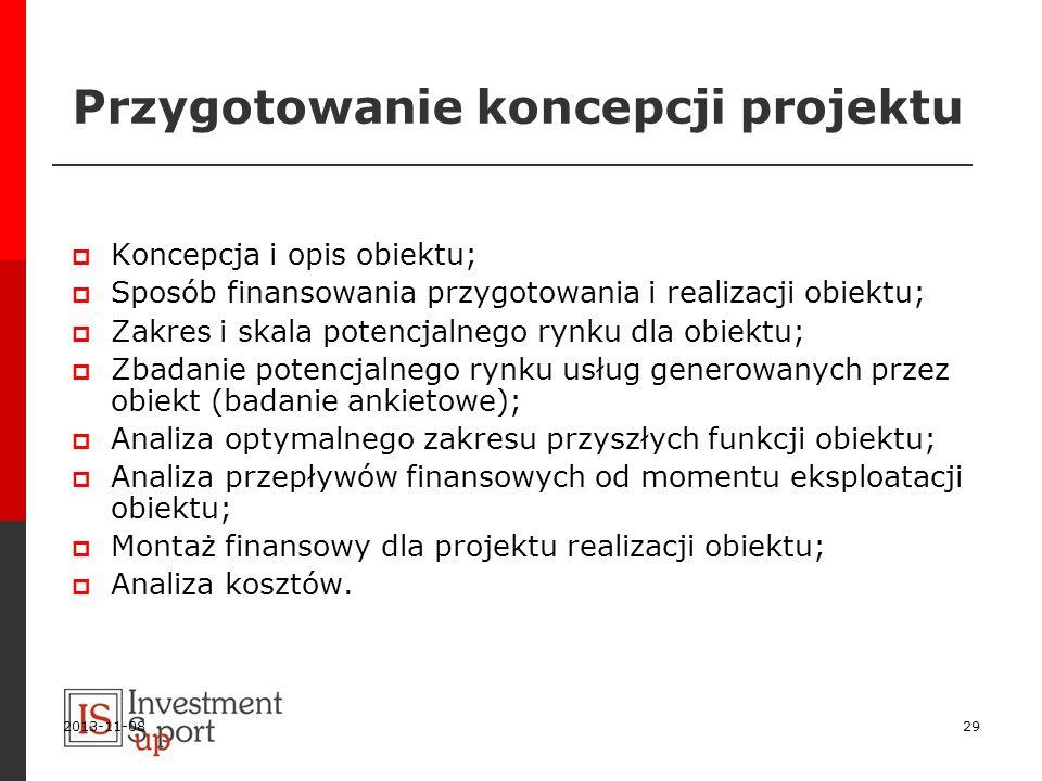 2013-11-0829 Przygotowanie koncepcji projektu Koncepcja i opis obiektu; Sposób finansowania przygotowania i realizacji obiektu; Zakres i skala potencj