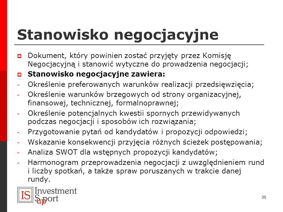 Stanowisko negocjacyjne Dokument, który powinien zostać przyjęty przez Komisję Negocjacyjną i stanowić wytyczne do prowadzenia negocjacji; Stanowisko