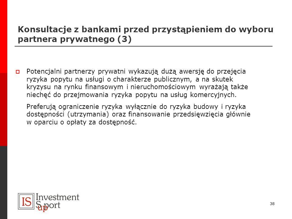 Konsultacje z bankami przed przystąpieniem do wyboru partnera prywatnego (3) Potencjalni partnerzy prywatni wykazują dużą awersję do przejęcia ryzyka