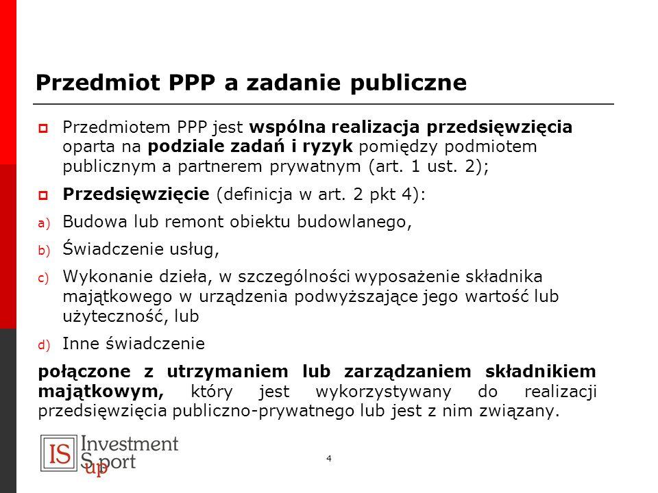 4 Przedmiot PPP a zadanie publiczne Przedmiotem PPP jest wspólna realizacja przedsięwzięcia oparta na podziale zadań i ryzyk pomiędzy podmiotem public