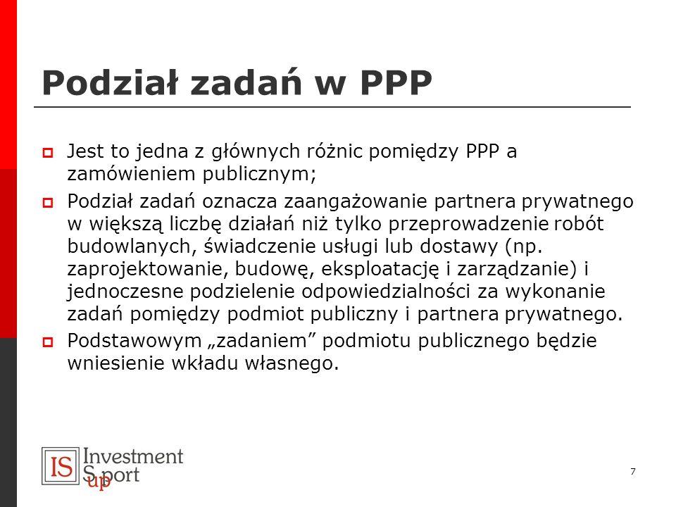 Podział zadań w PPP Jest to jedna z głównych różnic pomiędzy PPP a zamówieniem publicznym; Podział zadań oznacza zaangażowanie partnera prywatnego w w