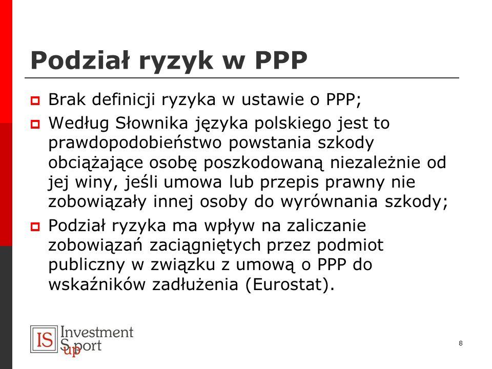 Podział ryzyk w PPP Brak definicji ryzyka w ustawie o PPP; Według Słownika języka polskiego jest to prawdopodobieństwo powstania szkody obciążające os