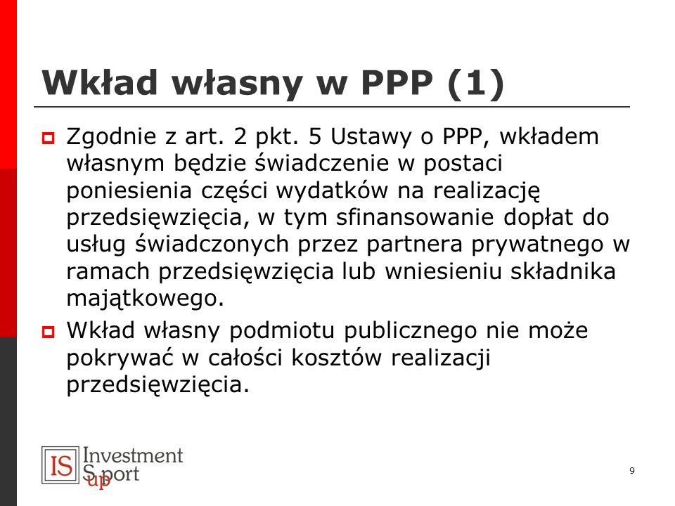 Wkład własny w PPP (1) Zgodnie z art. 2 pkt. 5 Ustawy o PPP, wkładem własnym będzie świadczenie w postaci poniesienia części wydatków na realizację pr