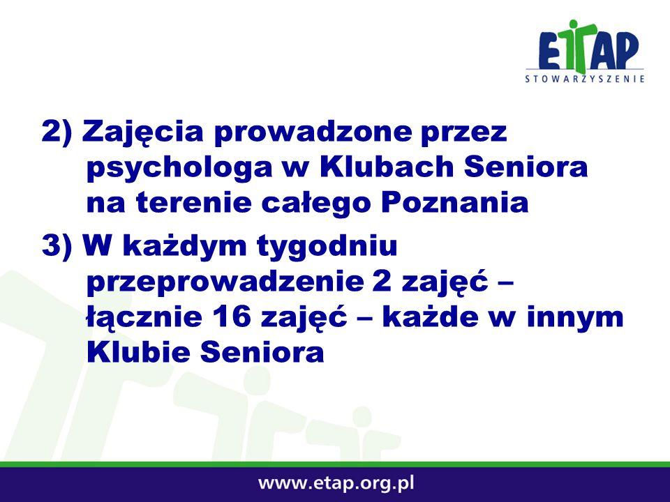 2) Zajęcia prowadzone przez psychologa w Klubach Seniora na terenie całego Poznania 3) W każdym tygodniu przeprowadzenie 2 zajęć – łącznie 16 zajęć –