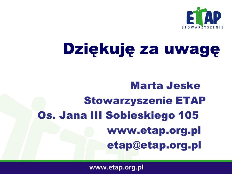 Dziękuję za uwagę Marta Jeske Stowarzyszenie ETAP Os. Jana III Sobieskiego 105 www.etap.org.pl etap@etap.org.pl