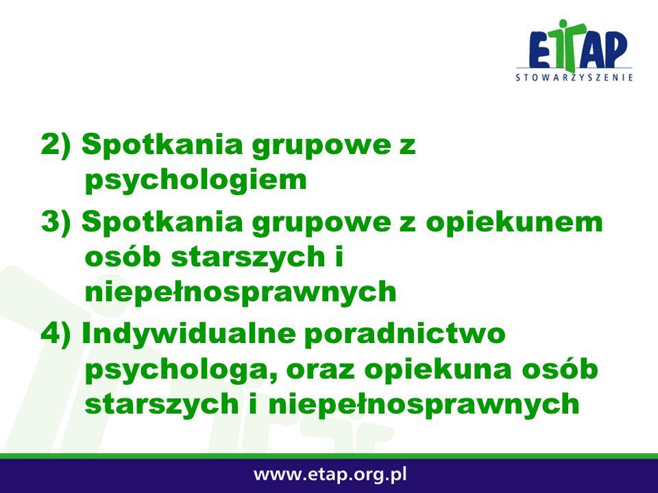 2) Spotkania grupowe z psychologiem 3) Spotkania grupowe z opiekunem osób starszych i niepełnosprawnych 4) Indywidualne poradnictwo psychologa, oraz o