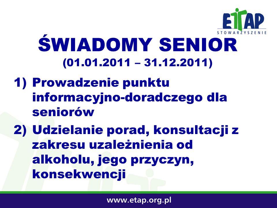 ŚWIADOMY SENIOR (01.01.2011 – 31.12.2011) 1)Prowadzenie punktu informacyjno-doradczego dla seniorów 2)Udzielanie porad, konsultacji z zakresu uzależni