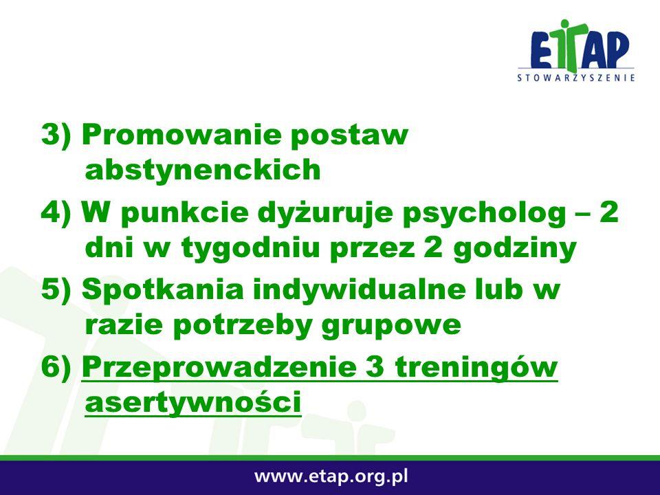 3) Promowanie postaw abstynenckich 4) W punkcie dyżuruje psycholog – 2 dni w tygodniu przez 2 godziny 5) Spotkania indywidualne lub w razie potrzeby g